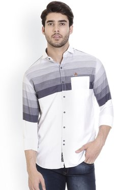 ROCX Navy & White Slim Fit Cotton Striped Shirt