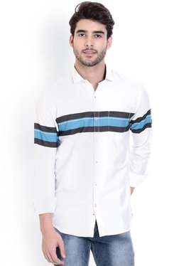 ROCX White & Blue Striped Full Sleeves Shirt