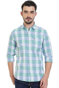 ROCX White & Sea Green Checks Shirt