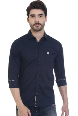 ROCX Navy Solid Slim Fit Shirt