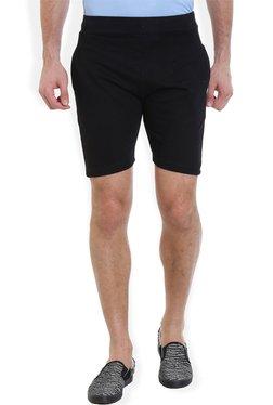 ROCX Black Cotton Mid Rise Slim Fit Shorts