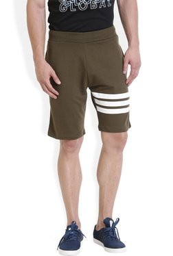 ROCX Olive Slim Fit Mid Rise Shorts