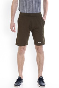 ROCX Olive Slim Fit Mid Rise Cotton Shorts