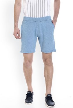 ROCX Light Blue Slim Fit Mid Rise Shorts