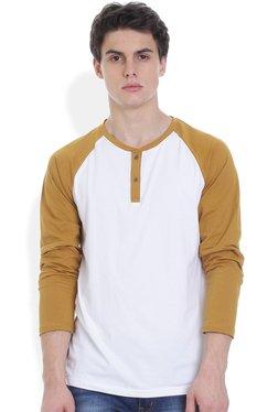 ROCX Mustard & White Raglan Sleeves Henley T-Shirt