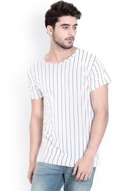 ROCX Off-White Short Sleeves Striped Round Neck T-Shirt