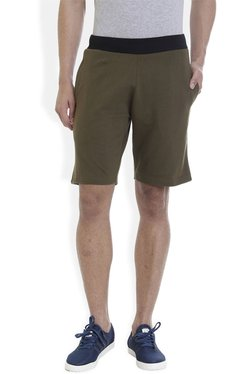 ROCX Olive Cotton Mid Rise Shorts