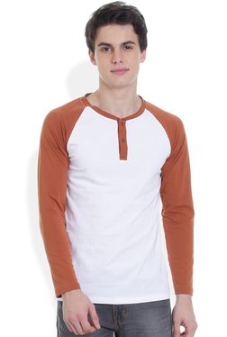 ROCX Brown & White Cotton Slim Fit Henley T-Shirt