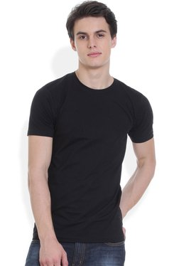 ROCX Black Round Neck Slim Fit Cotton T-Shirt