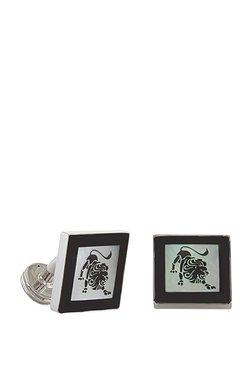 Forst Silver & Black Lion Embossed Metal Cufflinks