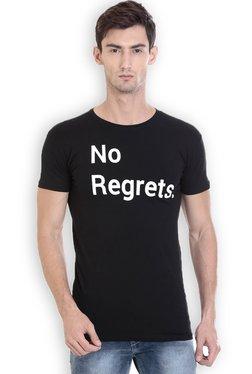 ROCX Black Short Sleeves Cotton Printed T-Shirt