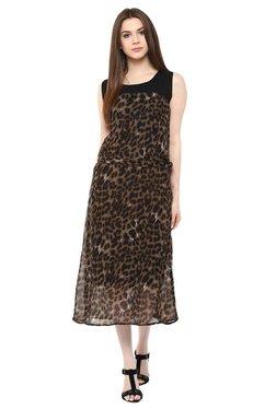 Mayra Brown Animal Print Midi Dress