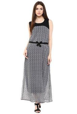 Mayra Black & White Printed Maxi Dress