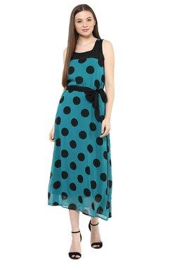Mayra Turquoise Polka Dot Midi Dress
