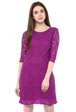 Mayra Purple Lace Knee Length Dress