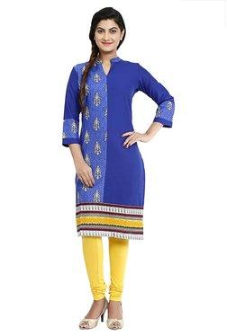 Aaboli Royal Blue Printed Cotton Straight Kurta