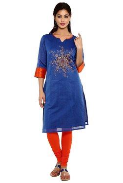 Aaboli Royal Blue Printed Chanderi Straight Kurta