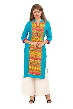 Aaboli Turquoise Printed Rayon Straight Kurta