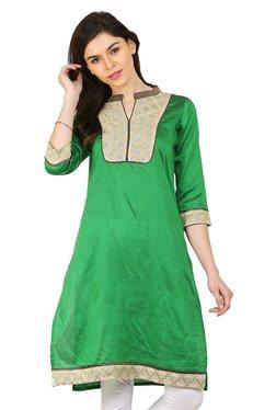 Aaboli Green Printed Straight Kurta