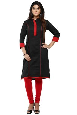 Aaboli Black Mandarin Collar Straight Kurta