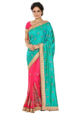 Soch Pink & Green Embroidered Silk Half And Half Saree