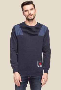 Status Quo Navy Round Neck Regular Fit Sweatshirt