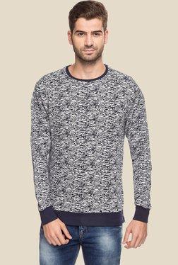 Status Quo Navy & White Round Neck Regular Fit Sweatshirt