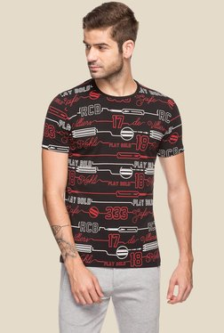 Royal Challengers Bangalore By Status Quo Black Slim Fit Printed T-Shirt