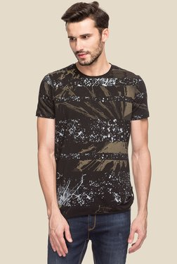 Status Quo Black Round Neck Slim Fit T-Shirt