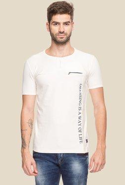 Status Quo Off-White Round Neck Printed Cotton T-Shirt