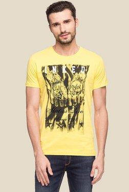 Status Quo Yellow Round Neck Cotton T-Shirt