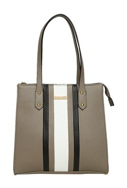 Addons Dark Beige & Black Paneled Laptop Shoulder Bag