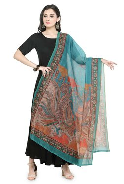 Varanga Blue Printed Silk Blend Chanderi Dupatta