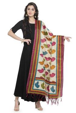Varanga Off White & Pink Art Silk Bhagalpuri Dupatta