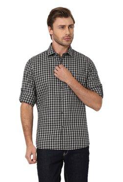 Van Heusen Black & White Slim Fit Checks Cotton Shirt
