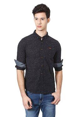 People Black Button Down Collar Printed Shirt