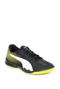 Puma Veloz Indoor NG Black   Blazing Yellow Badminton Shoes 3baff8b08