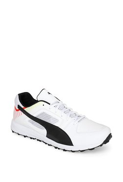 Puma Team Rubber White & Flame Scarlet Cricket Shoes