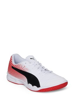 c79647fd02e9 Puma Veloz Indoor NG White   Flame Scarlet Badminton Shoes