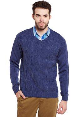 Duke Blue Regular Fit Cotton Sweater