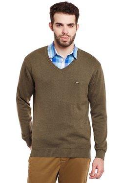 Duke Brown Regular Fit V Neck Sweater