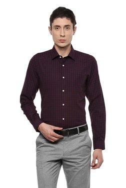 Peter England Maroon & Black Slim Fit Checks Shirt