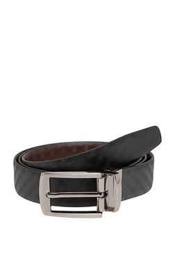 Teakwood Leathers Black Textured Leather Narrow Belt - Mp000000002349982