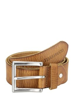 Teakwood Leathers Light Brown Textured Leather Narrow Belt