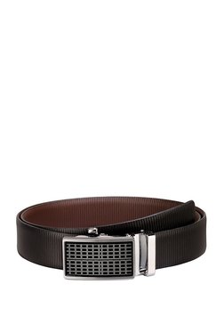 Teakwood Leathers Black Textured Leather Narrow Belt - Mp000000002350300