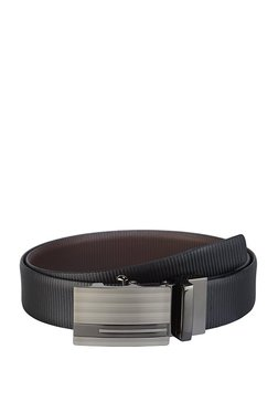 Teakwood Leathers Black Textured Leather Narrow Belt - Mp000000002350858
