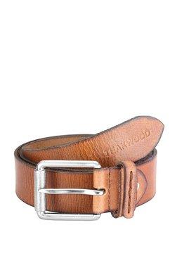 Teakwood Leathers Tan Textured Leather Narrow Belt