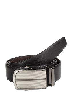 Teakwood Leathers Black Textured Leather Narrow Belt - Mp000000002350317