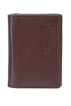Teakwood Leathers Dark Brown Solid Leather Card Case
