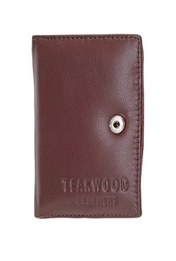 Teakwood Leathers Dark Brown Solid Leather Card Case - Mp000000002350040